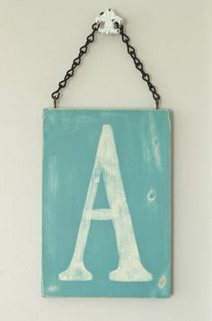 Vintage Style Letter Sign shown in Provence and Old White