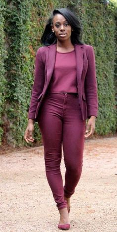 Maroon on maroon. Perfect work outfit inspiration #naturalhairdiva