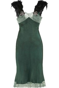 Erickson Beamon Rich green feather trimmed silk dress