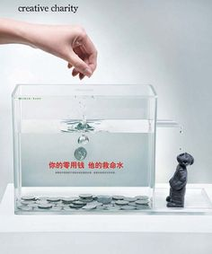 creative charity, money in the water...