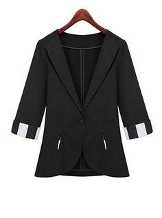 Womens Black Blazer - Sleeve Cuffs / Single Button / V-neck