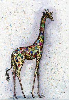 Feeling a little different - Giraffe Art Print. £15.00, via Etsy.