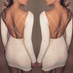 Shiny Crisscross Open Back Bodycon Dress
