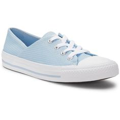 Converse Chuck Taylor All Star Low Sneakers ($60) ❤ liked on Polyvore featuring shoes, sneakers, light blue, low sneakers, laced sneakers, light blue shoes, star shoes and star sneakers