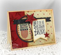 Americana card by Julee Tilman using American Hero and the Starry Die from Verve.  #vervestamps