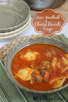 A hearty tomato-based soup filled with mini meatballs, cheese ravioli, and veggies is perfect for nights.