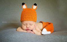 Crochet Newborn Baby Boy or Girl Fox Diaper set - Such a sweet little set!