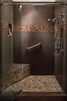 badgestaltung ideen badgestaltung in braun mit mosaikfliesen duschkabine bathroom design ideas bathroom design in brown with mosaic tile shower cabin Best Bathroom Tiles, Bathroom Flooring, Small Bathroom, Bathroom Ideas, Rental Bathroom, Bathroom Countertops, Mosaic Shower Tile, Shower Tile Designs, Bathroom Designs