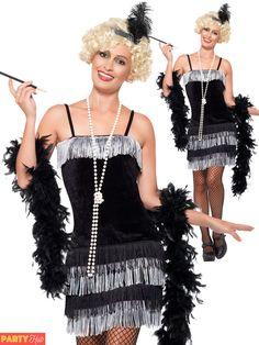 Ladies flapper costume black silver charleston womens fancy dress out 1920s Fancy Dress, Mary Poppins Fancy Dress, Fringe Flapper Dress, Flapper Costume, Ball Gown Dresses, 1920 Dresses, Dress Clothes For Women, Fancy Dress Outfits, Velvet Fashion