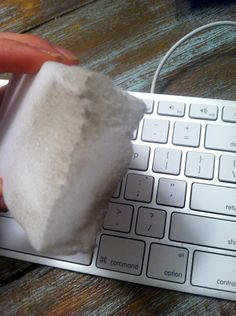 Use a magic eraser to clean your keyboard. | 42 Meticulous Cleaning Tips Every Perfectionist Needs To Know