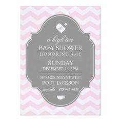 Pink Chevron High Tea Baby Shower Invitation