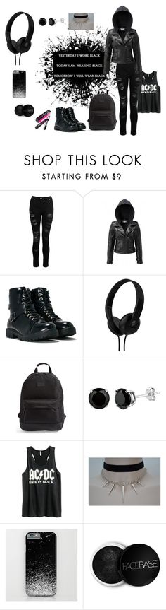 """""""Back In Black"""" by makennadelaneypowell on Polyvore featuring Dorothy Perkins, Killstar, Nasty Gal, Skullcandy, Rip Curl, H&M, FaceBase and Benefit"""