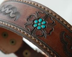 Western Re purposed quality Leather Dog Collar with Turquoise Stones - Size medium OOAK