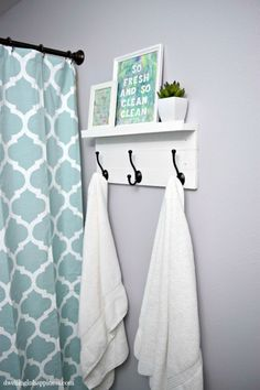 Such an incredible transformation of a small bathroom space! From Dwelling in Happiness Light & Bright Guest Bathroom Makeover. Such an incredible transformation of a small bathroom space! From Dwelling in Happiness Upstairs Bathrooms, Grey Bathrooms, Master Bathroom, Bathroom Small, Modern Bathroom, Bathroom Interior, Gold Bathroom, Seashell Bathroom, Mirror Bathroom