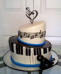 Topsy+Turvy+black+and+white+and+blue++music+birthday+Cakes+oneteir+ | Music Cake - by CakesbyKimNC @ CakesDecor.com - cake decorating ...