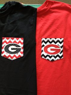UGA Georgia Dawgs REAL Pocket Tee Bulldogs Athens College Football Short or Long Sleeve on Etsy, $23.00