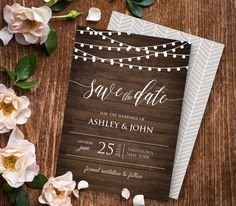 Rustic Save the Date Template, Instant Download, Wood String Lights Wedding Save the Date, Editable PDF Template, Digital File #014