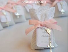 First Communion Favors - Baby Girl Baptism Favors - Christening Lavender Sachets Favor with Mini Rosary & Pink RibbonReserved for Charmaine Christening Lavender by FlyingLittleBirds Baptism Themes, Christening Decorations, Christening Favors, Baptism Favors, Baptism Ideas, Girl Baptism Party, Baby Christening, Baptismal Giveaways, Baptism Giveaways Ideas