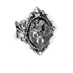 Steampunk Jewelry Ring Vintage Jeweled Watch Ring SOLDERED Renaissance... ($75) ❤ liked on Polyvore