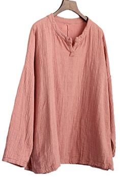 79568eceab Soojun Women s Essential Casual Loose Solid Cotton Linen Tops Blouses 3  Pink  Size Chart