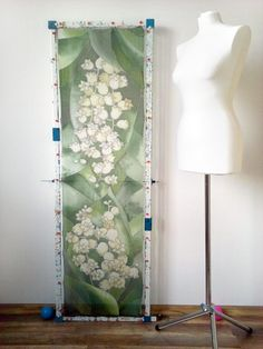 #silk #scarf #maybell done by Luiza #malinowska #minkulul #greenscarf #may #bell #flowers #floral #scarves