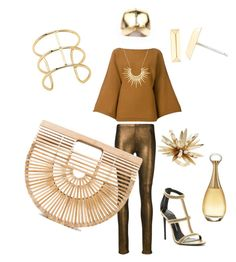 """""""Golden Goldie!"""" by celine-pallancher on Polyvore featuring Mes Demoiselles..., Cult Gaia, Sonia Rykiel, Tom Ford, Celine Daoust, Elizabeth and James, Rosantica and Christian Dior"""