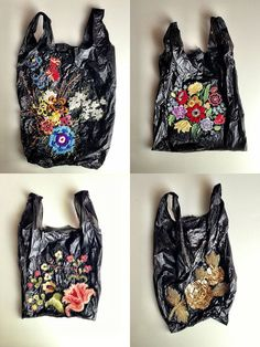 Embroi­dered bags you'd get at your local bodega/corner store. Who is the artist that did this? I only found this piece on the Bom­bay Sap­p...