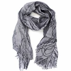 Abstract Line and Dot Scarf-Black