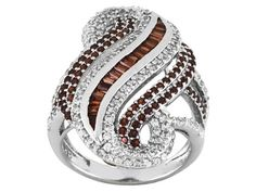 2.69ctw Baguette, Trillion And Round Vermelho Garnet(Tm) And .81ctw Round White Zircon Silver Ring