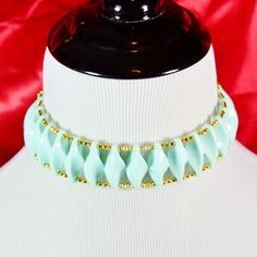Avant Garde Golden Blue Beaded Memory Wire and Chain Choker