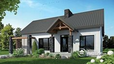 Discover the plan 3992 - Olympe from the Drummond House Plans house collection. Farmhouse style house plan, cathedral ceiling w/exposed wood beams, open floor plan, outdoor kitchen. Total living area of 1212 sqft. Contemporary Cottage, Contemporary Style Homes, Contemporary House Plans, Modern Cottage, Modern House Plans, Contemporary Design, Rustic Cottage, Modern Garage, Modern Craftsman