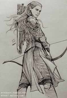 Legolas, Lord of the Rings, Tolkien Legolas And Thranduil, Tauriel, Fantasy Male, Tag Art, O Hobbit, Jrr Tolkien, Middle Earth, Lord Of The Rings, Cool Drawings