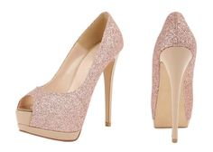 b3e3abf43e62df Pale pink glitter peep toe heels Glitter High Heels