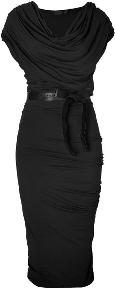 Donna Karan New York Black Black Draped Jersey Dress with Belt