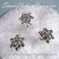 These sparkling rhinestone snowflake hairpins are perfect for a winter themed wedding or holiday event. www.yourweddingcompany.com