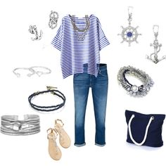 """Singing the Sailor Blues Monday"" by jilljones222 on Polyvore Jewelry found at chloeandisabel.com/boutique/jilljones"