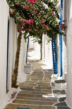 The streets in the town, Ios, Greece
