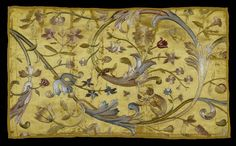 Embroidery Depicting a Monkey, Lizards and Insects amidst Foliage  France, First quarter of 18th century