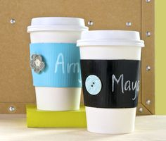 Upcycling Coffee Sleeves With Chalkboard Paint - diycandy.com - so cute for when you are taking coffee to someone!!