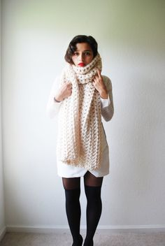 The Runaway Scarf Hand Knit in Fisherman Wool by RememberADay, $90.00