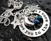 Personalized Mommy Necklace - Hand Stamped Jewelry - To The Moon and Back