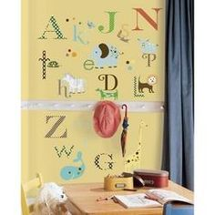 Adesivos De Parede Roommates Colorido Animal Alphabet Peel  Stick Wall Decals