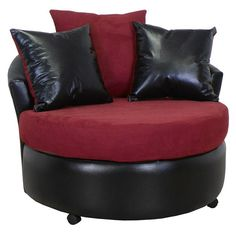Alexa Round Upholstered Armchair in Black and Burgundy | DCG Stores