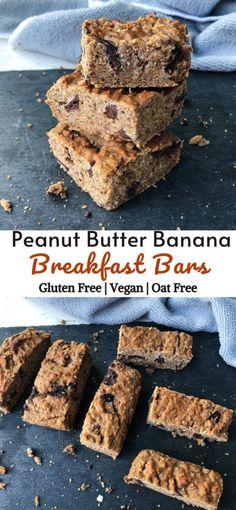 Peanut Butter Banana Breakfast Bars aren't just a healthy breakfast recipe; they make great afternoon snacks too. Filling, kid-friendly, and packed with some of my all time favourite ingredients. Gluten free, vegan. oat free