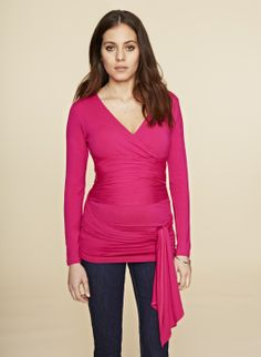 The Ruched Maternity Wrap Top.......need one in every color!
