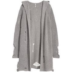 Trashed Hooded Cardigan $49.99 (165 BRL) ❤ liked on Polyvore featuring tops, cardigans, gray top, v neck tops, v-neck cardigan, hooded cardigan and cardigan top