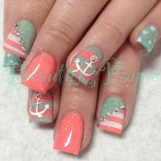 Opting for bright colours or intricate nail art isn't a must anymore. This year, nude nail designs are becoming a trend. Here are some nude nail designs. Anchor Nail Designs, Anchor Nail Art, Cute Nail Designs, Nautical Nail Designs, Love Nails, How To Do Nails, Pretty Nails, Nails Opi, Diy Nails