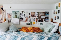 I have my bed right next to the wall and I thought this was a really cool idea to give a pop of colour to a white room, will be trying soon! Hopefully it looks something like this