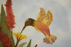 Original Pressed Flower Art  Hummingbird   by irinasartbynature, $75.00