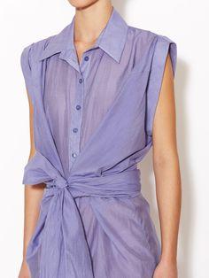 Cotton Silk Wrap Shirtdress by Lamb at Gilt